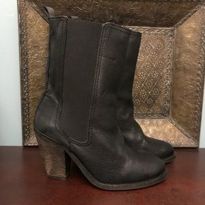 H&M faux leather and cloth boots.